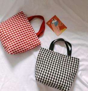 Buffalo Verifique Bolsa de algodão da manta Bolsa de Ombro Mulheres Sacos de compra de Grande Capacidade de viagem Tote Sports Duffle Bag Lunch Bolsas GGA3480-1