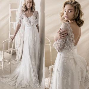 Ligne romantique bohème A Décolleté bustier Robes de mariée 2020 Lihi Hod Nouveau de dentelle Embellissement Robes de mariée