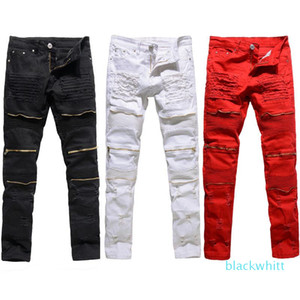 Classic Slim Mens Jeans Men Clothing Fit Straight Biker Ripper Zipper Full Length Men \&#039 ;S Pants Casual Pants Size 36 34 32