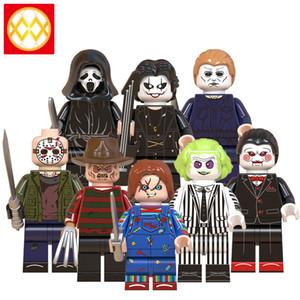 Halloween Horror mini-figurines Freedy Krueger Cri de tueur Jason Doll Creepy Michael Myers assemblage des blocs Building Block