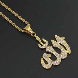 Atacado-Stainless Steel Jewelry hip hop Islam Colar Pingente muçulmana com corda 24inch Cadeia SN103