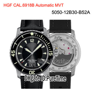 Yeni HGF Elli Kulaç Grande Date 5050-12B30-B52A Siyah Titanyum Cal.6918B Otomatik Erkek İzle Siyah Yelken-kanvas Kayış Puretime BP01a1 Dial