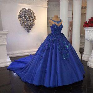 Royal Blue Saudi-Arabien Ballkleid Quinceanera Kleider Vintgae wulstige Plus Size Quinceanera Prom Bonbon 15 Kleid 3D Blumen