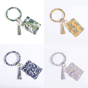DHL shipping PU Wallet Bracelets Key Ring Women Fashion Phone Purse Clutch Wallets with Bangle Keychain Large Circle Purse Keyring L196FA