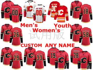 Calgary Flames Maglie James Neal Jersey Michael Stone David Rittich Oliver Kylington Rosso Bianco Hockey su ghiaccio pullover su ordinazione cucita