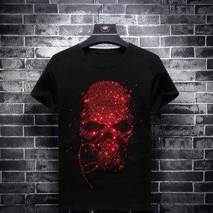 2019 Helle Strass rote Schädel-T-Shirts Men Kurzarm Mode Kleidung Street O Ansatz Modal Cotton Calaveras Camiseta CX200613