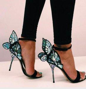 소피아 webster 에반젤린 천사 날개 샌들 여성 플러스 크기 유로 42 나비 라인 석 샌들 파티 파티 펌프
