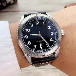 Новый 42 мм Navitimer 08 серебряный корпус A1731410 черный циферблат автоматические мужские часы черный кожаный ремешок высокое качество дешевые мужские лучшие спортивные часы