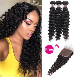 Peruvian Human Hair Bundles with Closure Buy 3Bundles Get A Free Closure Deep Loose Loose Wave Yaki Indian Straight Deep Wave Body Water
