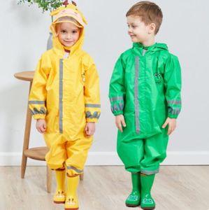 Embroma el impermeable encapuchado de la historieta impermeable infantil de una pieza de Rainsuit reflectante de alta visibilidad ropa impermeable Boy estudiantes impermeable animal ZYQ591