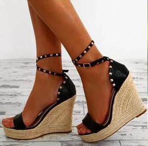 Rosa de Oro Dipsloot Nueva Moda Mujer Negro Remaches cuña sandalias de la plataforma del talón de la cubierta cómodo de tacón alto de las sandalias casuales Zapatos