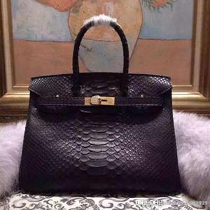 Frauen h Handtasche Klassische neue 100% echte Python Ledertaschen Klassische Qualitätsfrauenhandtasche Damen Totegeldbeutel 30 35cm