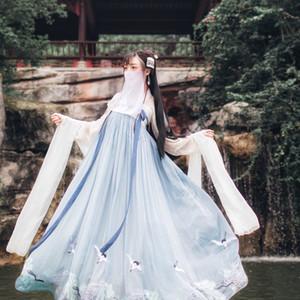 Traje de hadas tradicional china Nacional Hanfu equipo del vestido de la antigua dinastía Han princesa de la danza popular de ropa CostumeDQS1641