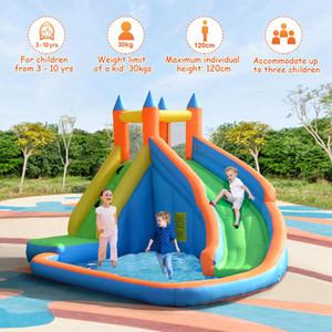 New Arrived Inflatable Slide Bouncer, Water Pool with Long Slide, Climbing Wall, Including Oxford Carry Bag, Stakes, Castle Bounce House