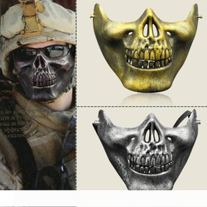 A CS Mask Carnival Gift Scary Skull Skeleton Paintball Lower Half Face facemask warriors Protective Mask For Halloween Party Masks