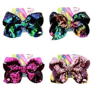 Jojo Girls Bow Clips para el cabello 8 pulgadas de doble cara Reversible Lentejuelas Niños Bow Tarjeta horquilla Fish Scale Accesorios para el cabello de 20 colores A21502