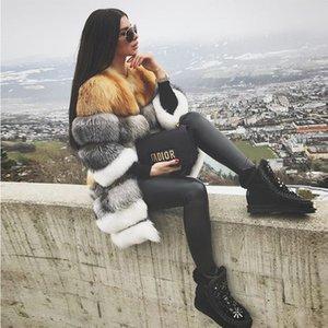 FURSARCAR naturel Waistcoat réel Fox Manteau de fourrure pour les femmes Nouveau détachables épais véritable fourrure de renard Femme 90cm Fourrure véritable Veste CJ191216