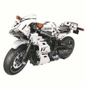 Мальчик творческой сборки строительных блоков гонки крутые светодиодные фонари мотоцикла детские модели развивающие игрушки 716 частиц