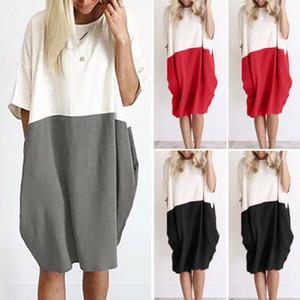 Mode Frauen Halbarm mit Rundhalsausschnitt Kleid weibliche beiläufige lose Kleider Damen Holiday Beach-Party knielangen Kleider Plus Size