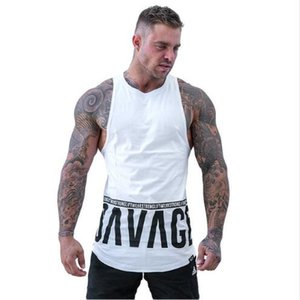 Hommes Bodybuilding Débardeur Gymnases Workout Fitness Tight Lettres Imprimé Sans Manches Chemise Vêtements Stringer Singlet Mâle Casual Gilet