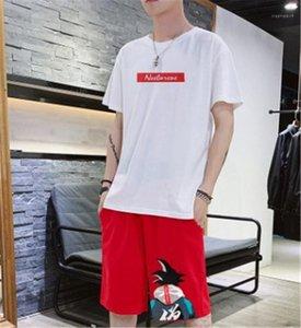 목 반바지 만화와 문자는 여름 짧은 소매 의류 남성 운동복 승무원을 실행 남성 스포츠 정장 패션 인쇄하기