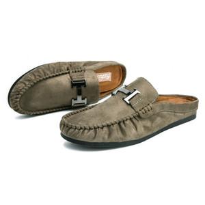 Мужская повседневная обувь Мужские сандалии на плоской подошве Ленивые туфли Половина пляжной обуви на открытом воздухе Баотоу Мужские тапочки для водителя Замша Zapatillas