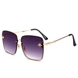 Metallrahmen Platz Sonnenbrille Damen Persönlichkeit Sommer Little Bee Dekoration Brillen Rosa, Gelb, Gradient Lens Brille