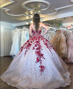 2020 Lace Up Luxury Quinceanera Dresses Appliqued Sequins Sweetheart Tulle Floor Length Sweet 16 Dresses Vestidos De Ball Gown Prom Dress