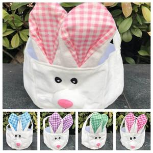 Пасхальная корзина для хранения ручная корзина длинные уши плюшевый Пасхальный кролик украшенный маленькой круглой корзиной Пасхальный подарочный пакет T2D5017