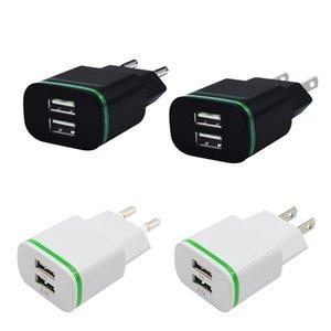 LED Ligh double port USB Chargeur adaptateur US / EU 5V / 2.1A Mobile Universal iPad Voyage Accueil AC Adpater