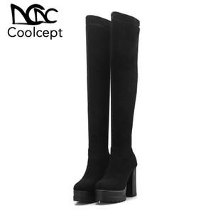 Coolcept Stivali Alti Donna Nuovo Inverno pelle scamosciata stirata donne dei pattini Piazza Tacchi alti della piattaforma Taglia Calzature 32-42