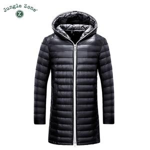 JUNGLE ZONE inverno ultraleggero Tenere cappotto bianco caldo anatra uomini del rivestimento degli uomini cappotto piumino lunga casuale Down con cappuccio