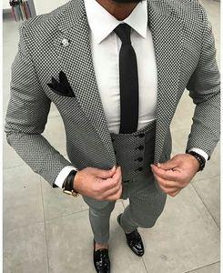 Costume de mariage élégant Plaid Casual pour les hommes 3Pieces (veste + pantalon + veste + cravate) Costumes sur mesure Mode Tuxedo Blazer Terno Masculino