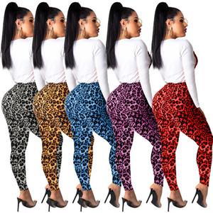 여성 레오파드 프린트 운동복 긴 소매 T 셔츠 탑 + 바지 레깅스 2 조각 복장 가을 디자인 5 색 스포츠