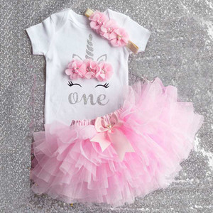 Cotton Baby 1st Birthday Outfits One Year Party Communion Toddler Christening Gown Fluffy Pink Baptism Unicorn Tutu Tulle Dress