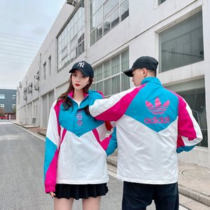 New Half-zip Brasão Pullover Adidas Trench Homens Mulheres Casacos Designer Marca Casal Hoodies alta Sweater Qualidade Jacket Casual Luxury