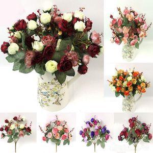2 Bouquet 42 cabeça Artificial Rose Silk Flower Bouquet Início Wedding Decor New