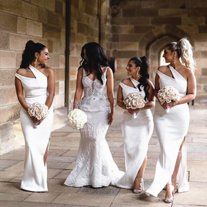 2020 Bride Long Maid of Honor Dress Side Split Cheap Bridesmaid Dresses New Style One Shoulder Neckline Wedding Party Gowns
