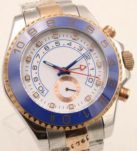 44 MM Otomatik Mekanik Erkek İzle Saatler Beyaz Kadran Ile Dönebilen Mavi Üst Halka Çerçeve ve Iki Ton Paslanmaz Çelik Band Gül Altın Vaka