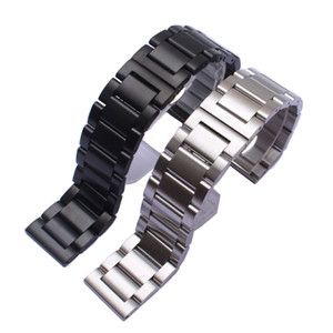 High Quality Stainless steel Watchbands strap silver Black Unpolished Watches Accessories 18mm 20mm 22mm 24mm For mens Wrist butterfly clasp