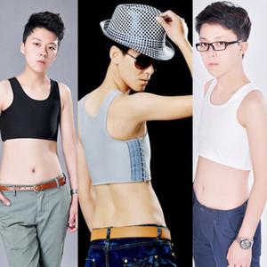 Kadınlar Kısa Göğüs Meme Yelek Nefes Toka Bağlayıcı Trans Lezbiyen Tomboy'a tişört Kadın Kostüm Tops