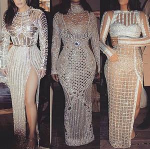 Вечернее платье Yousef Aijasmi Kim Kardashian Chraite Zoe Elie Saab Оболочка с длинным рукавом Серебро Crystall Zuhair Murad Kylie Jenner101