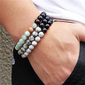 Natural Stone Wood Beads Bracelet Elastic Rope Black Onyx Turquoises Beaded Prayer Yoga Bracelet for Women Men Couple Jewelry