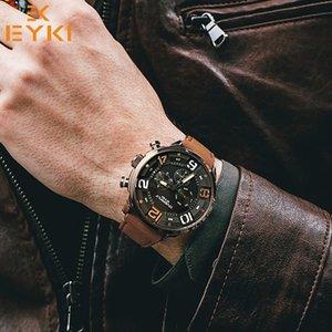 Eyki Schwarz Echtes Leder Armband Herrenuhren Mann Braun Armband Sportuhr Marke Luxus Quarz Armbanduhr Montre Homme Reloj Y19051703