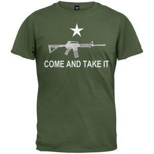 Nouveautés Ar 15 Come And Take It T-shirt Vert Militaire Hommes Drôle Casual Streetwear Imprimé Hip Hop T-shirt