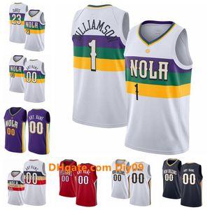 Personalizada Nueva OrleanspelícanosAnthony Davis Jersey 23 Lonzo 2 Bola E'Twaun Moore 55 11 Jrue Holiday Ciudad Blanca camisetas de baloncesto