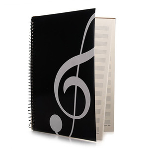 Blank sheet essay manuscript, music book, musician music student manuscript, piano-keyboard-music-notebook black 50 pages 26 x 19 cm