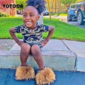 Çocuklar Kürk Terlik Kabarık Rakun Kürk Slaytlar Kabarık Gerçek Ayaklı Çocuk Lacing Açık parmak Sandalet Sevimli Gökkuşağı Ayakkabı Floplar