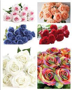 Güller Yapay Çiçek Gerçek Dokunmatik Lateks Sahte çiçekler Düğün Dekor Simülasyon Sahte Güller Çiçek Düğün Buketler çelenk Ev Bahçe Dekor