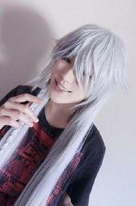 Black Butler Kuroshitsuji Undertaker Cosplay perruque longue blanc argenté 40 '' 100cm